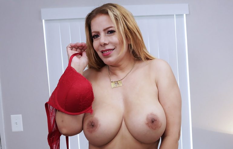 Nicky shows off her amazing boobs during her milftrip.com audition
