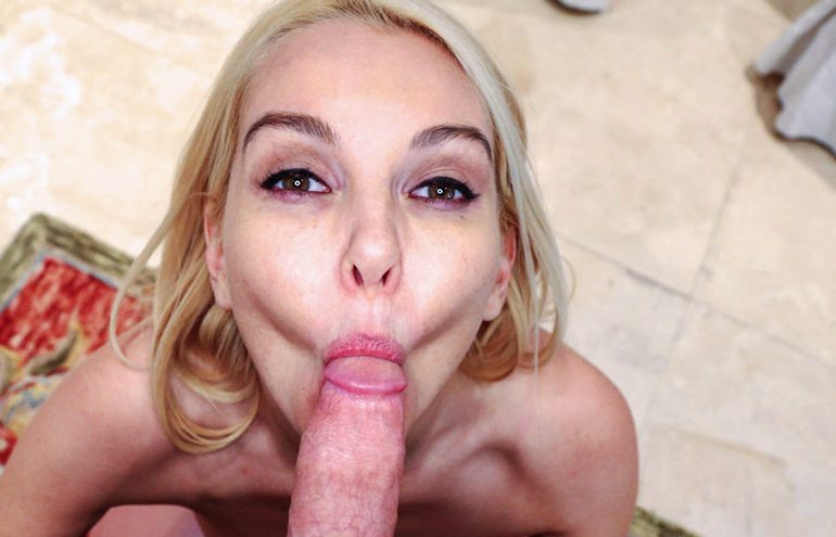 Sexy blonde milf gives a beautiful blowjob to a horny stud