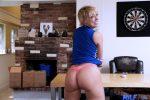 Blonde milf shows her big ass wearing a pink thong