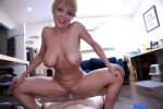 Naked milf gets on top of a hard cock for a fun ride