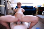 Naked milf rides cock while her big tits bounse and sway